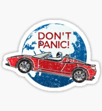 Don't Panic! - a tribute to Elon Musk, Spaceman and the Red Roadster Sticker
