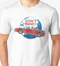 Keine Panik! - eine Hommage an Elon Musk, Spaceman und den Red Roadster Slim Fit T-Shirt