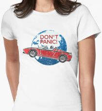 Don't Panic! - a tribute to Elon Musk, Spaceman and the Red Roadster Women's Fitted T-Shirt