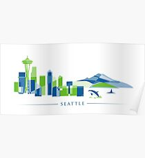 Seattle Skyline | Poly Poster
