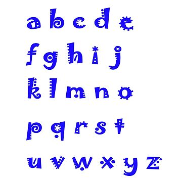 Alphabet blue letters by HEVIFineart