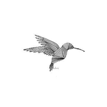 Line Art Hummingbird 2818 by mandalafractal