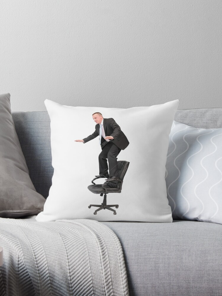 Enjoyable Unsafe Office Man Standing On Office Chair Stock Image Throw Pillow By Egg Bucket Ncnpc Chair Design For Home Ncnpcorg