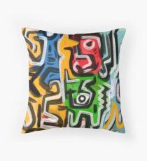 Primitive street art abstract Throw Pillow