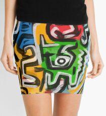 Primitive street art abstract Mini Skirt