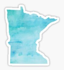 Blue Watercolor Minnesota Sticker