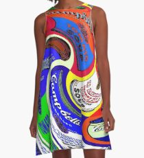 CAMPBELL SOUP : Abstract Warhol Style Psychedekic Advertising Print A-Line Dress