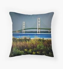 Mackinac Bridge Morning light Throw Pillow