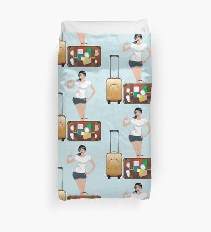 Reisendes Mädchen 2 Bettbezug