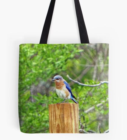 Bluebird on a Fence Post Tote Bag