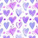 Purple Passion Watercolor Hearts by ArtVixen