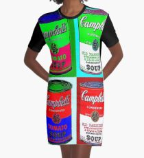 CAMPBELL SOUP : Warhol Style Collage Print Graphic T-Shirt Dress