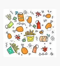 Cute  Food Doodles Photographic Print
