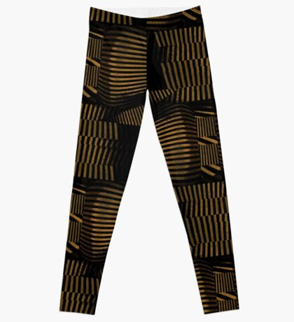 Black and Gold Dimension Patterns Leggings