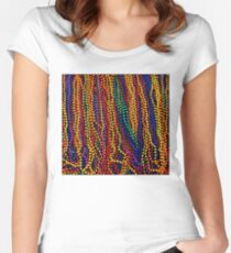 MARDI GRAS :Colorful Beads Print Fitted Scoop T-Shirt