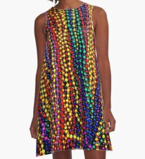 MARDI GRAS :Colorful Beads Print A-Line Dress