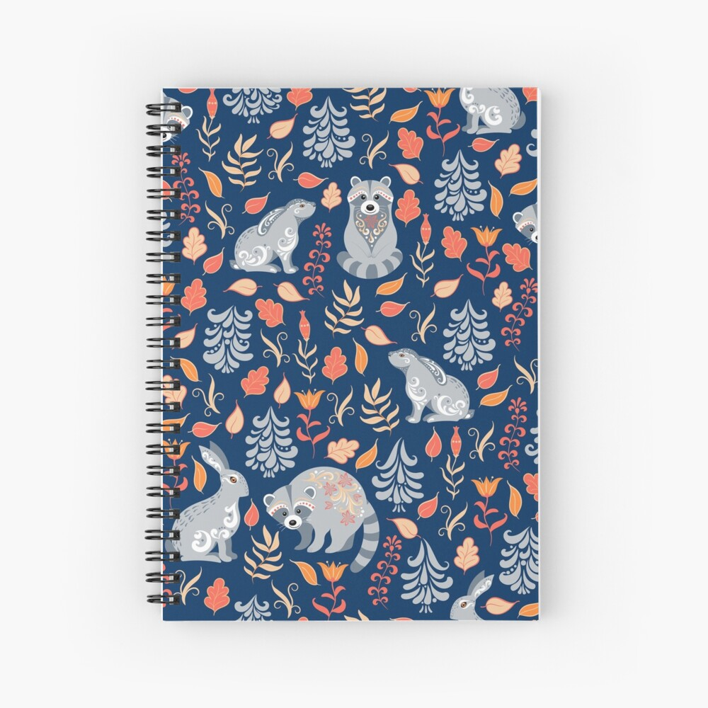 Fairy forest with raccoons and hares, silver fir trees, flowers and herbs. Spiral Notebook