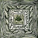 Linocut Inchie Border Hand Pulled Print With Inchie Zebra Eye by Catherine  Howell