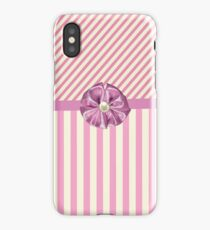 Vintage girly pink cute bow stripes pattern iPhone Case