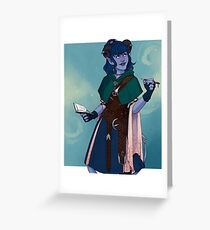 Just a little blue tiefling Greeting Card