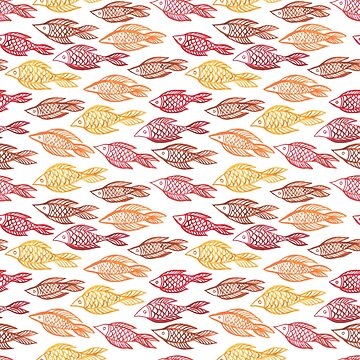 Watercolor fishes  seamless pattern by maystra