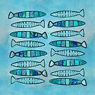 Blue Turquoise Glamour Fish Pattern by artsandsoul