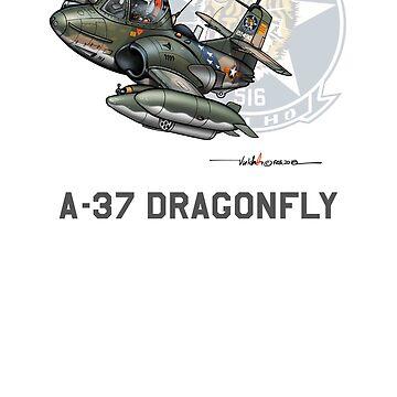 VNAF A-37B Cartoon - 516th FS - Da-Nang AFB by ACVuConcepts