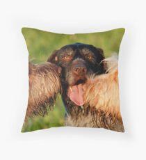 Spinone Kisses for German Wirehaired Pointer Keltoi Throw Pillow