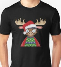 Hipster Moose - Santa Claus Hat - Cute Christmas Holiday T Shirt Unisex T-Shirt