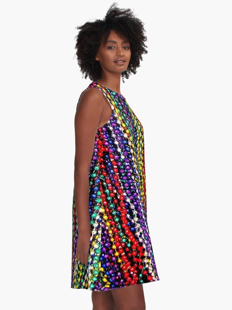 Alternate view of MARDI GRAS : Decorative Necklace Beads Print A-Line Dress