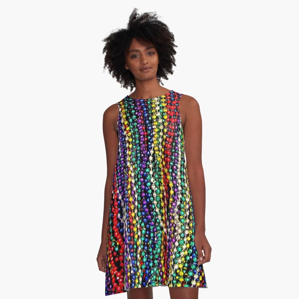 MARDI GRAS : Decorative Necklace Beads Print A-Line Dress