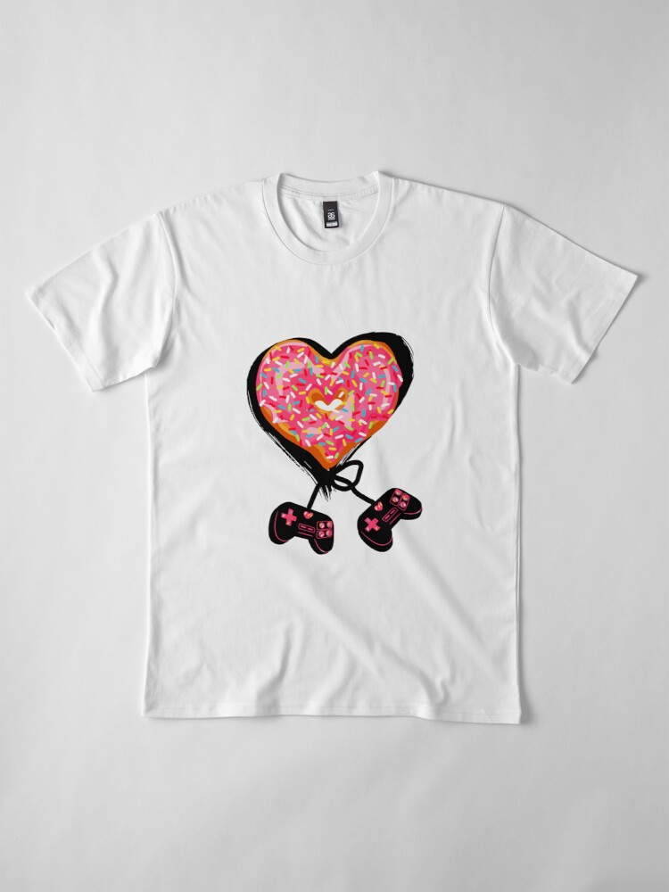 Alternate view of Gaming Console Donut T-Shirt for Donut Lover and Gamer Shirt Gift Premium T-Shirt