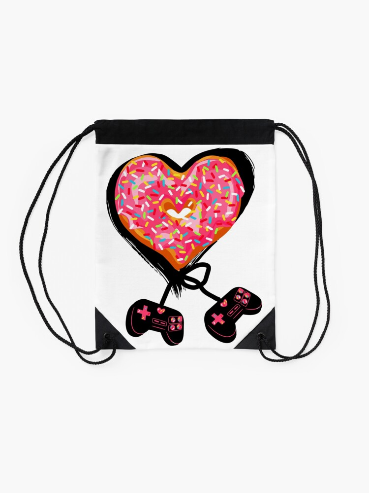 Alternate view of Gaming Console Donut T-Shirt for Donut Lover and Gamer Shirt Gift Drawstring Bag