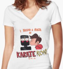 I Kissed a ninja at karate kon Marco Women's Fitted V-Neck T-Shirt