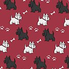 Red Scottish Terrier Dog Print by Bronte Carr