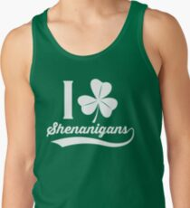 I Love Shenanigans Shirt St. Patrick's Day Gear in White Men's Tank Top