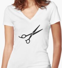 Hairdresser scissors Women's Fitted V-Neck T-Shirt