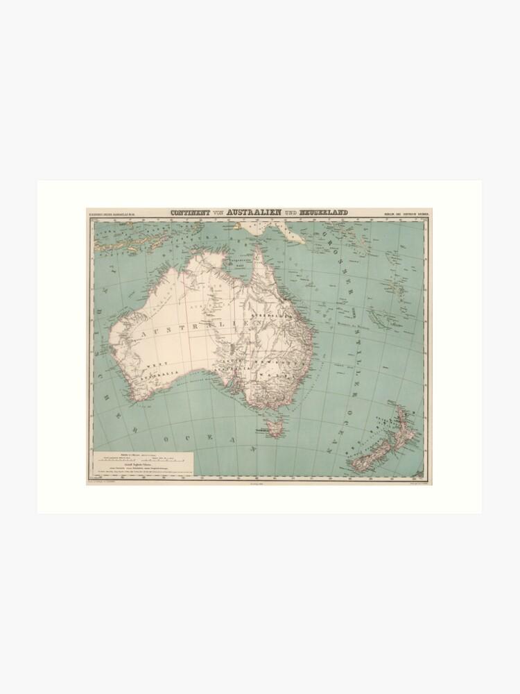 Vintage Topographic Map of Australia (1868)   Art Print