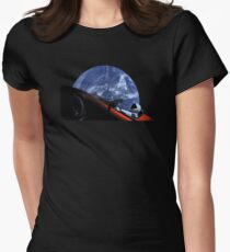 Starman in Tesla Roadster in Space Women's Fitted T-Shirt
