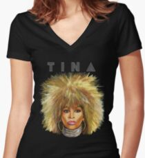 QUEEN TINA Women's Fitted V-Neck T-Shirt