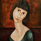 Modigliani style Portrait of a Girl  by wetherellart