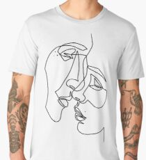 Lovers Drawing in One Line Men's Premium T-Shirt