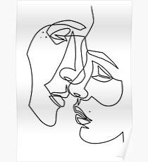 Póster Amantes dibujando en una línea