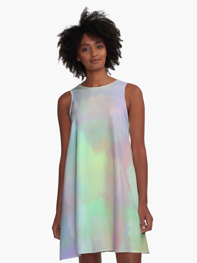 Abstract Rainbow Watercolor A-Line Dress Front
