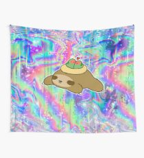 Sloth and Lovebird Nest Rainbow Holographic Wall Tapestry