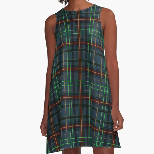Tartan in blue, orange, green... A-Line Dress