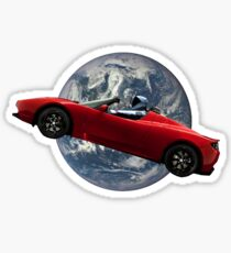 Pegatina SpaceX Starman with Roadster and Earth