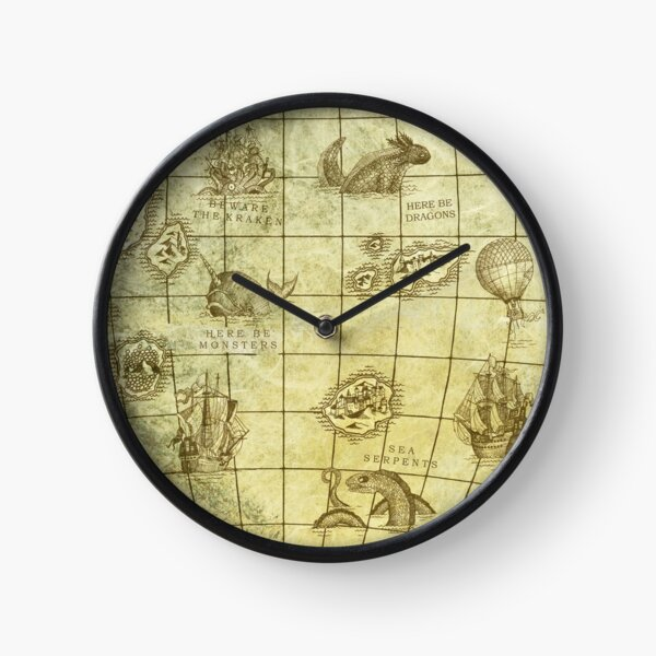 Sea Monsters Map Clock