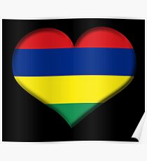 Mauritius Heart Flag Poster
