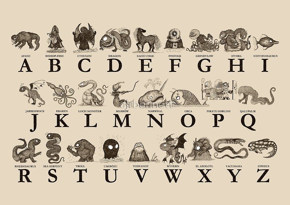 sea monster alphabet by djrbennett redbubble